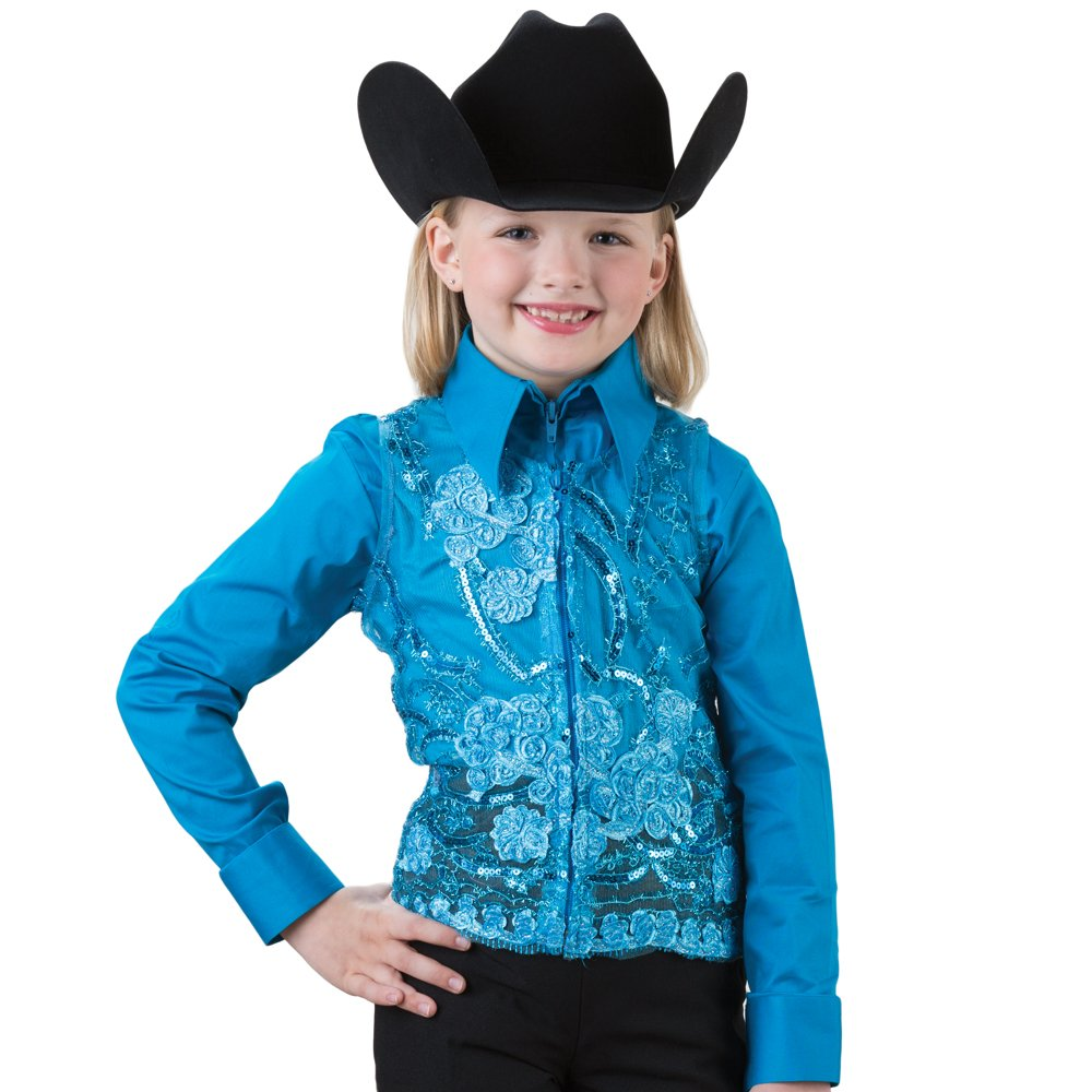 Girls Turquoise Lace Sequin Show Vest