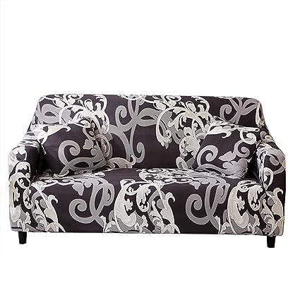 Funda de sofá extraíble de Monba, elástica y estampada con patrón de flores, ideal para decoración y proteger tu sofá, 1, 2, 3 o 4 plazas, poliéster, ...