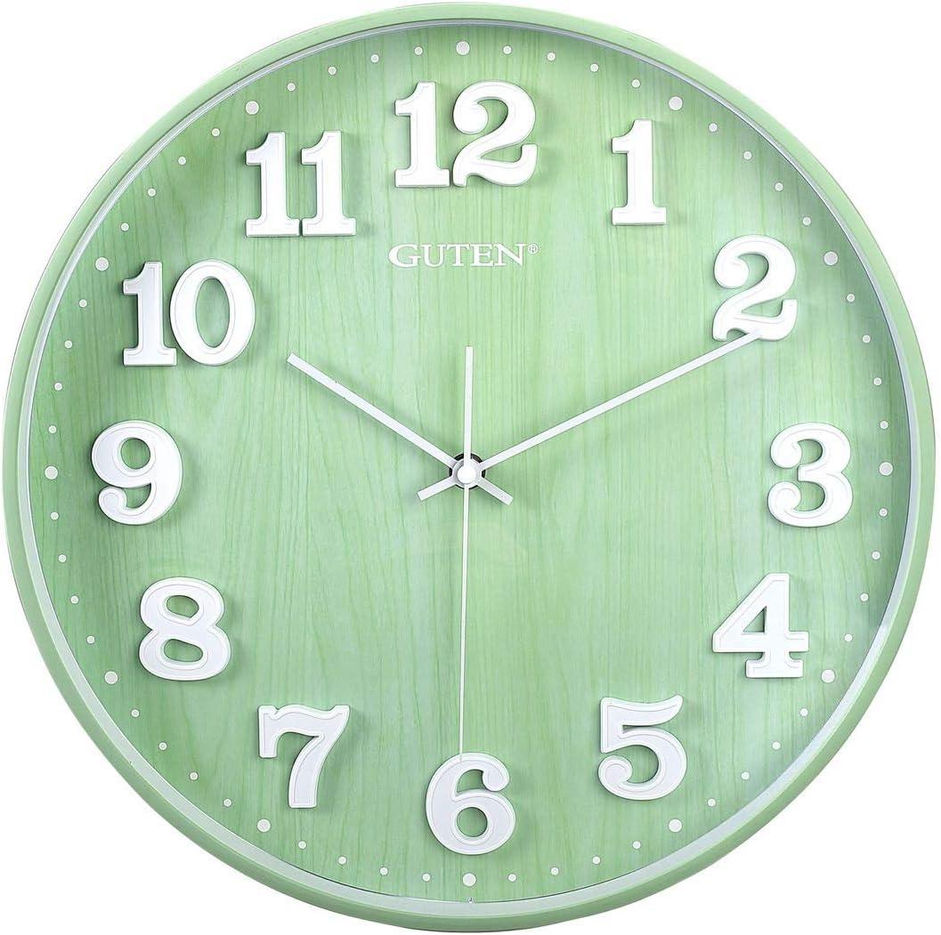 Guten 14 Inch Silent Non Ticking Large Quartz Wall Clock, Battery Operated, Wood Grain, Modern Decorative Green Clock for Living Room Bedroom School Office Kitchen