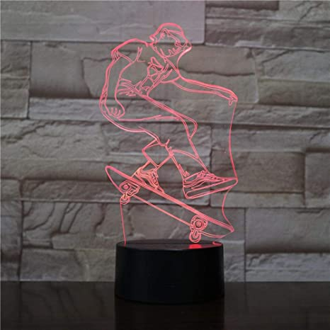 3D Luz De Noche ,Jugador De Skate,Decoracion Cumpleaños ...