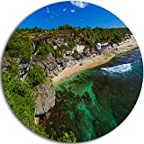 Design Art Designart MT9907-C11'' Balangan Beach Bali Indonesia Seashore Large Disc Metal Wall Art, 11'' x 11'', Green