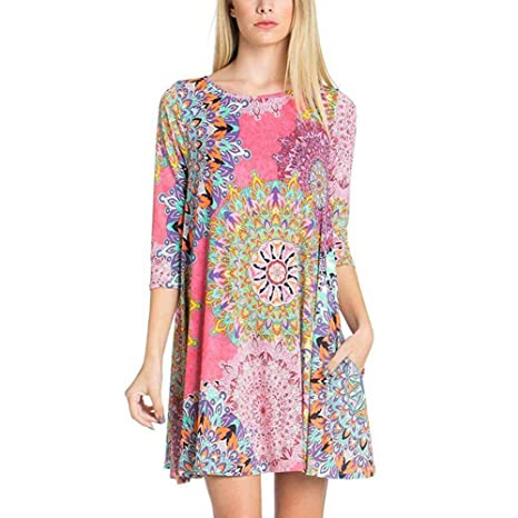9ac547dd6d91 Amazon.com  Plus Size Women Dress Casual O Neck Three Quarter Sleeve Ethnic  Print Summer Female Fashion Casual Dress With Pocket  Musical Instruments