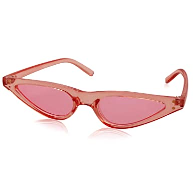 e0b843ef298d5 Amazon.com  Livhò Retro Vintage Narrow Cat Eye Sunglasses for Women Clout  Goggles Plastic Frame (Clear Pink Pink)  Clothing