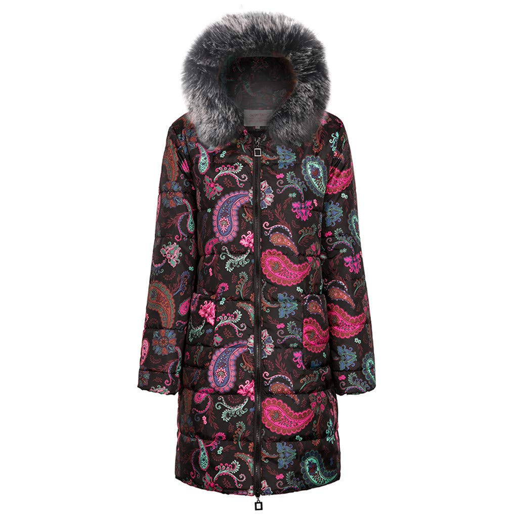 Plus Size Womens Winter Print Long Down Cotton Thick Coat Ladies Warm Hooded Zipper Coat Quilted Jacket Outwear S-5XL (Medium, Black) by Aritone