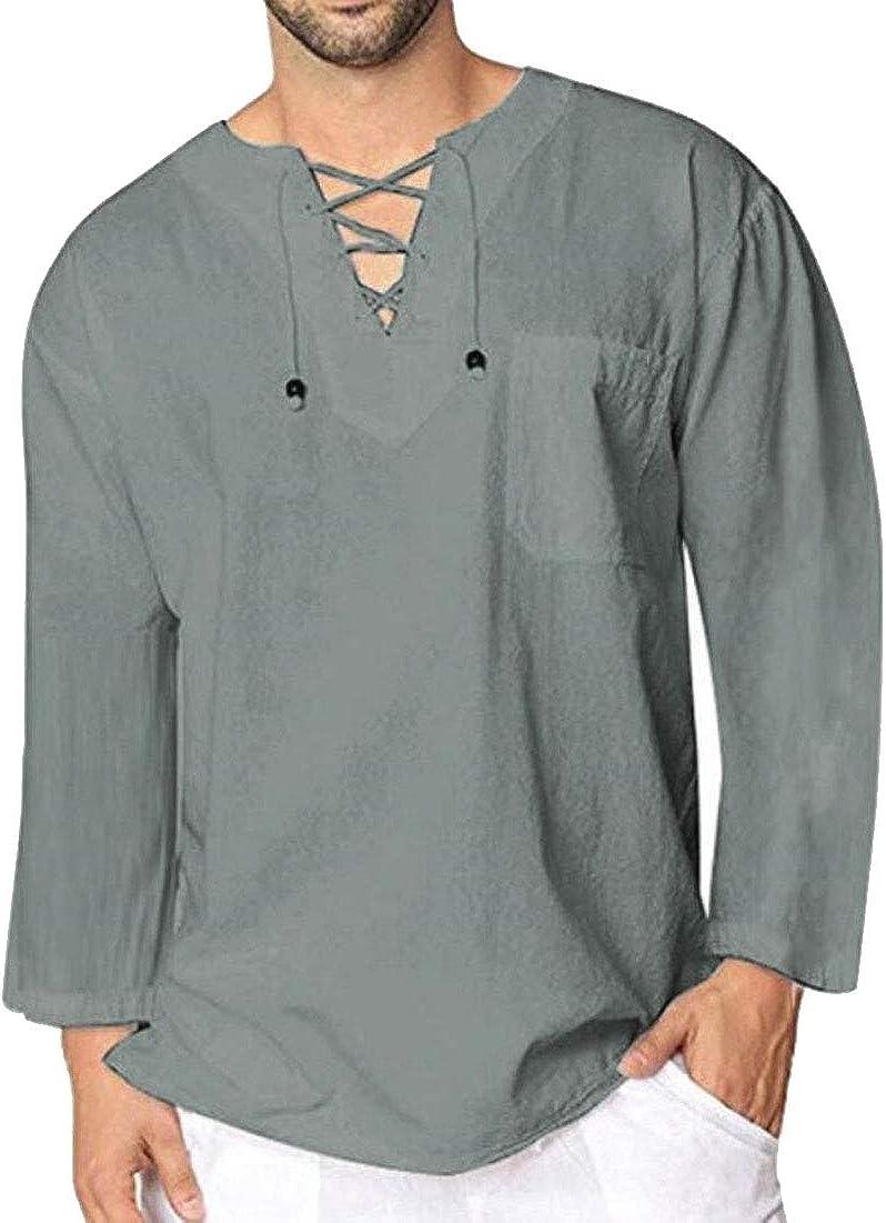 ChengZhong - Camisa Pirata Medieval para Hombre, diseño de Renacimiento Vikingo, con Cordones