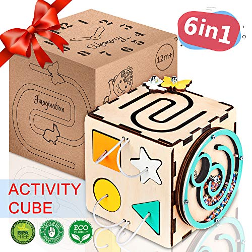 - BrainUpToys - Busy Cube - Activity Cube Toddlers - Sensory Board - Busy Cube for Kids - Boy and Girl 12-18 Month - Baby Travel Toy - Developmental Toy for Children - Playing Montessori Cube