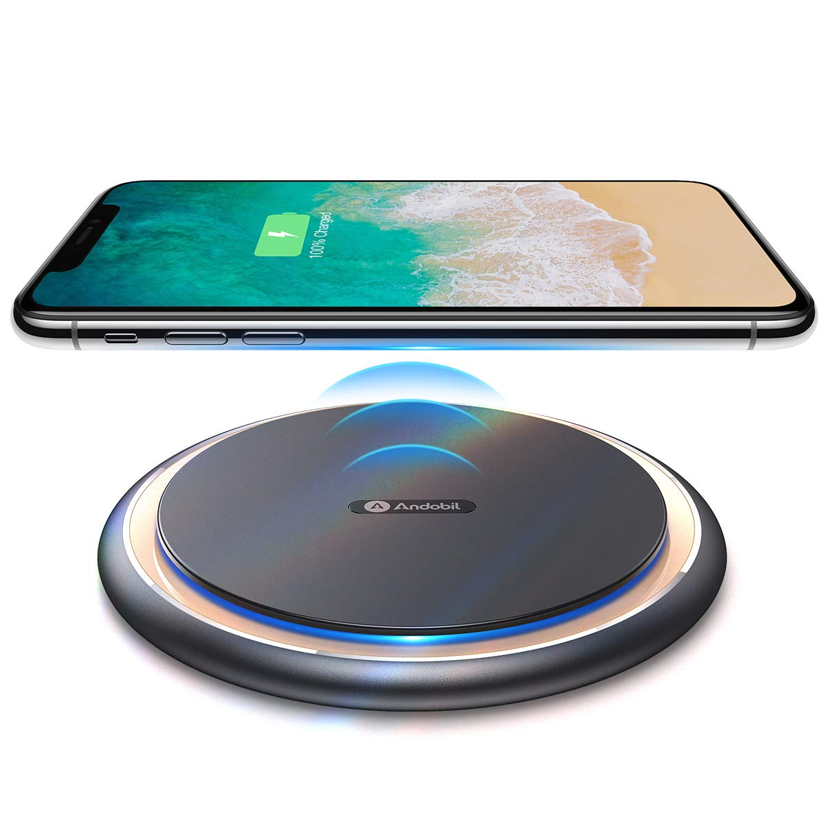Andobil Boost 15W Fast Wireless Charger, USB-C Qi Certified Alloy Cooling Charging Pad Station 10W 7.5W Compatible iPhone 11/X/Xs Max/Xs/Xr/8, Samsung Galaxy S10/S10+/S9/S9+/S8/S7/Note 9, LG V40 G7 by Andobil Wireless Charger