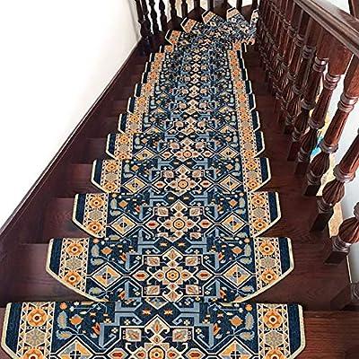 YUXO Inicio escaleras Alfombras Autoadhesiva Huella de peldaño de Escalera Pad Jacquard Alfombra Alfombra de su casa decoración de Interior Alfombras Antideslizantes: Amazon.es: Hogar