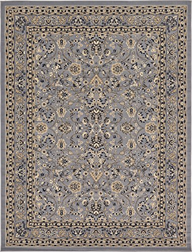 Unique Loom Kashan Collection Traditional Floral Overall Pattern with Border Gray Area Rug (9