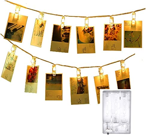10 LED Photo Clip Fairy String LED Lights Hanging Picture Garland Wedding Home D