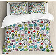 Ambesonne Emoji Queen Size Duvet Cover Set, Pop Art Hand Drawn Cartoon Style Eye Ice Cream Rainbow Donut Lip Heart Banana Ghost, Decorative 3 Piece Bedding Set with 2 Pillow Shams, Multicolor