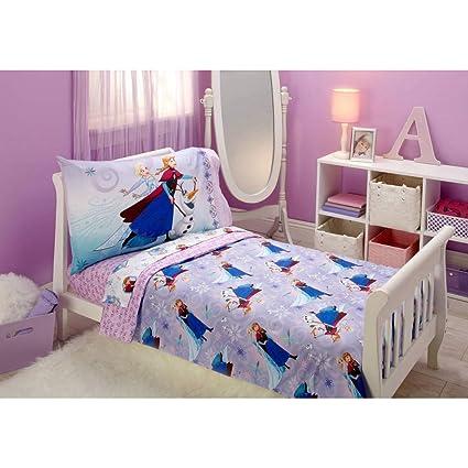 Amazon.com: TL 4 Piece Kids Girls Purple Pink Frozen Toddler Bed Set ...