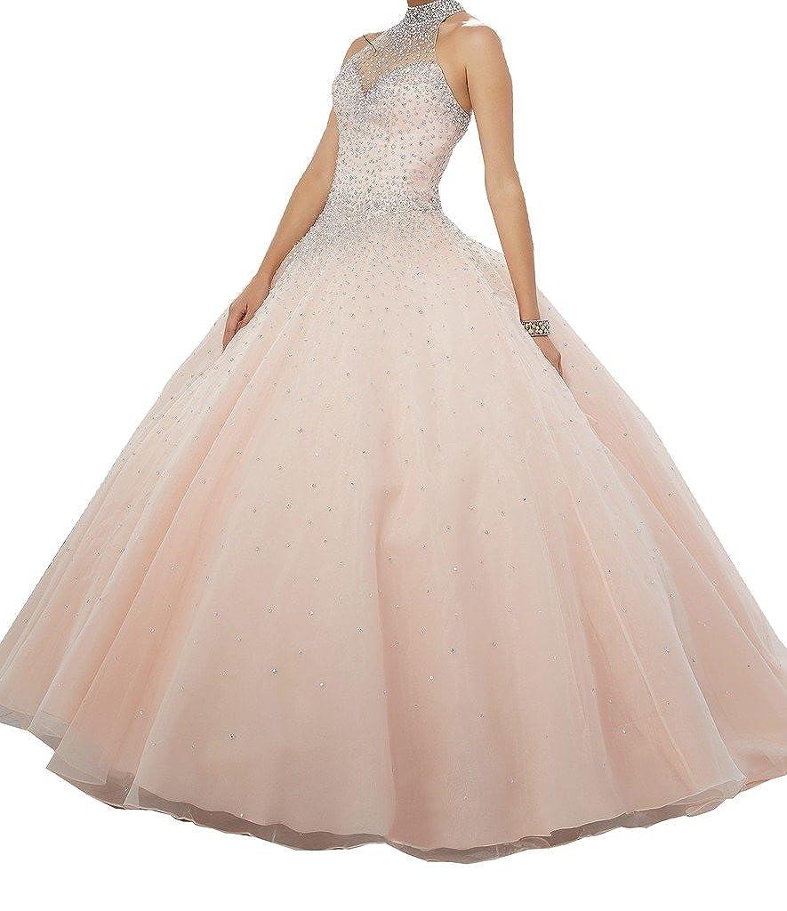 Light Pink PuTao Women's High Halter Sheer Neck Crystal Girls 16 Birthday Party Quinceañera Dresses