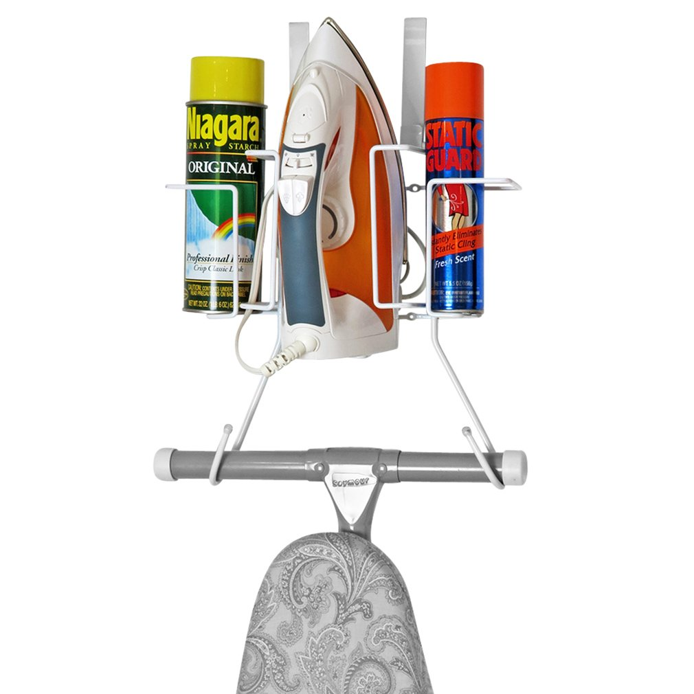 Evelots Over Door Ironing Board Holder, Hanging Iron Caddy with Storage Basket