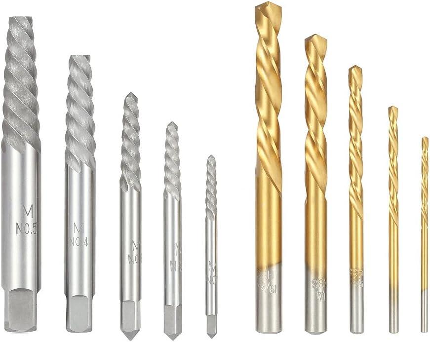 Extractores de tornillos 5pcs+5pcs Broca izquierda acero kit para madera o doméstico