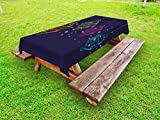 Ambesonne Lantern Outdoor Tablecloth, Candles in Night Sketch in with Dots Arabian Motifs, Decorative Washable Picnic Table Cloth, 58 X 120 inches, Dark Purple Multicolor