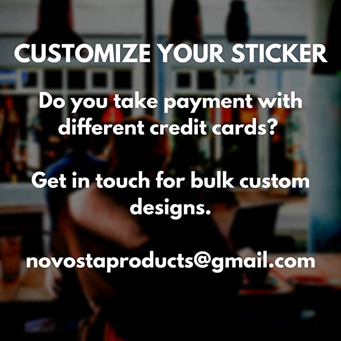 Credit Card Vinyl Sticker Decal We Accept Visa MasterCard