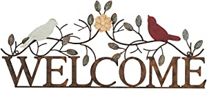Lechesis Metal Welcome Sign Wall Decor with Bird and Branch Leaves Art Plaque for Home Outdoor Decorative 26.5