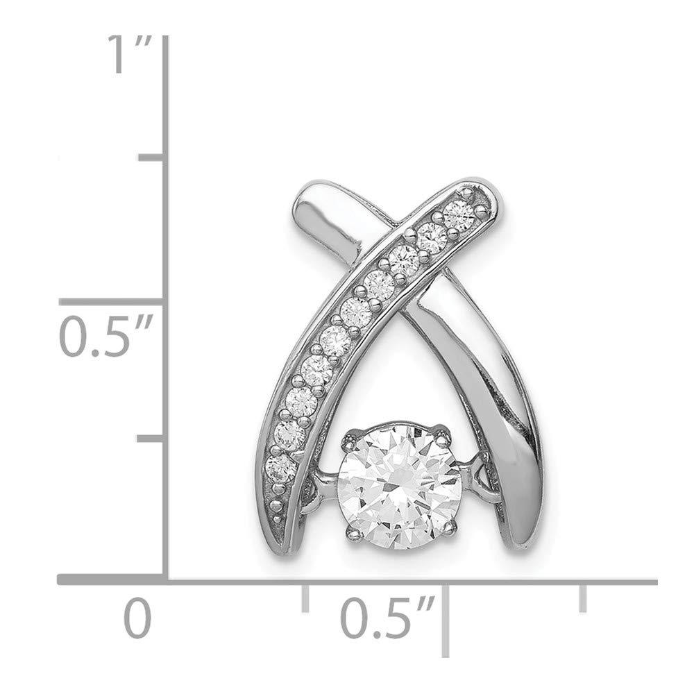 925 Sterling Silver Rhodium Plated Vibrant Cubic Zirconia Slide Pendant