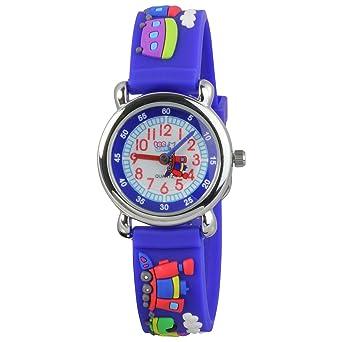 Armbanduhr kinder blau  Teenie-Weenie Kinderuhr blau Eisenbahn 3D Kautschukband Kinder ...