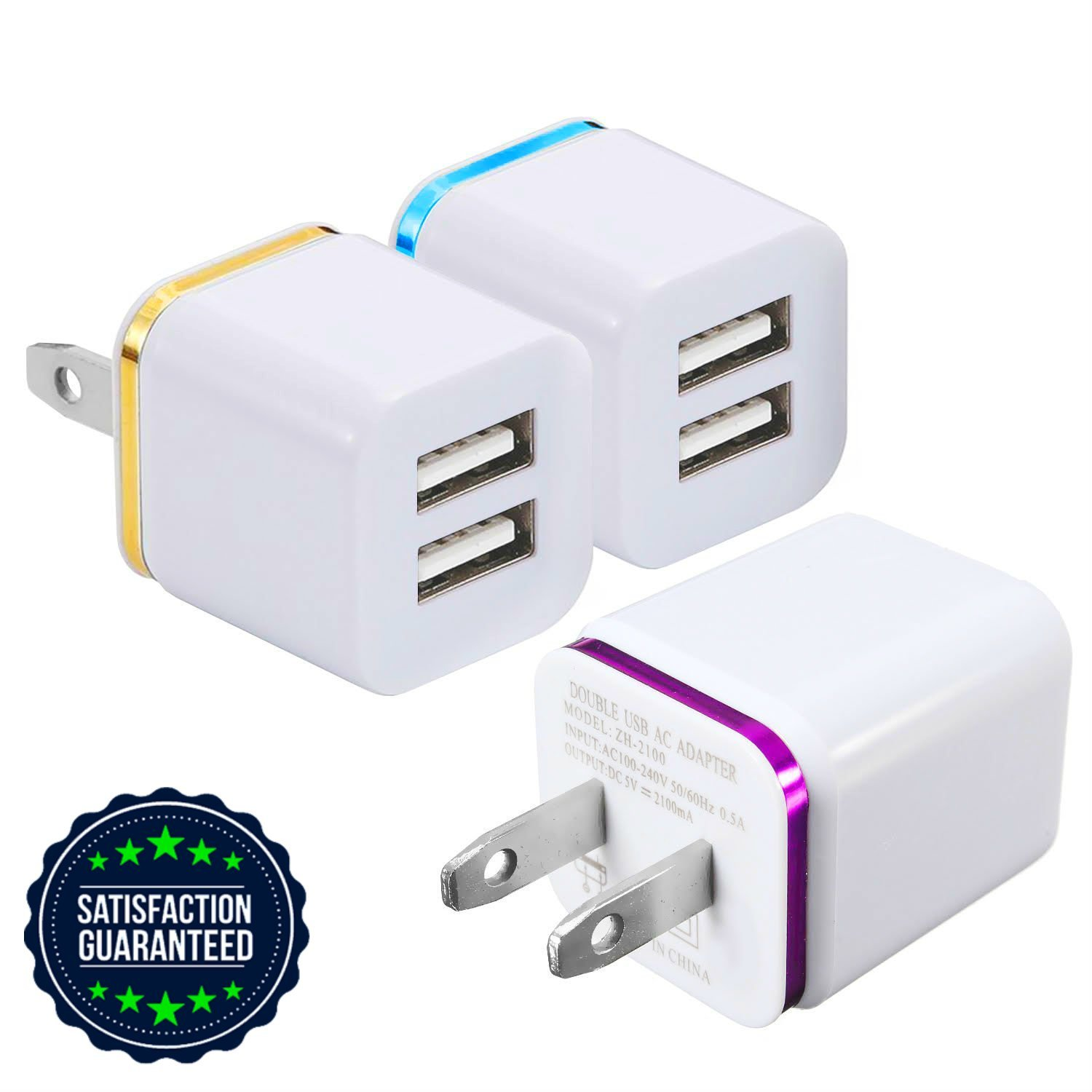 USB Charger, Certified Tricon 2-PORT Wall Charger Power Adapter, 3-Pack 2.4Amp Dual Port Fast Charging Cube for iPhone X 8/7/6 Plus SE/5S/4, iPad, iPod, Samsung, LG, HTC, Huawei, Moto, Tablets & More