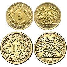 DE 1923 LOVELY 5 and 10 PFENNIG REICHSPFENNIG COINS! ADD SCARCER 5 and 10 RENTENPFENNIG COINS FOR SAME PRICE w NO ADDITIONAL SHIPPING! VF to AU