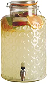 Circleware Circles Glass Beverage Dispenser with Locking Lid, Fun Party Entertainment Home & Kitchen Glassware Water Pitcher for Juice, Beer, Kombucha and Cold Drinks, Hermetic, Huge 2.5 Gallon