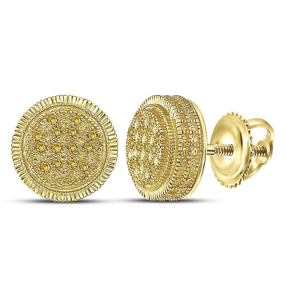 The Diamond Deal Yellow-tone Sterling Silver Round Yellow Color Enhanced Diamond Cluster Earrings 1//10 Cttw