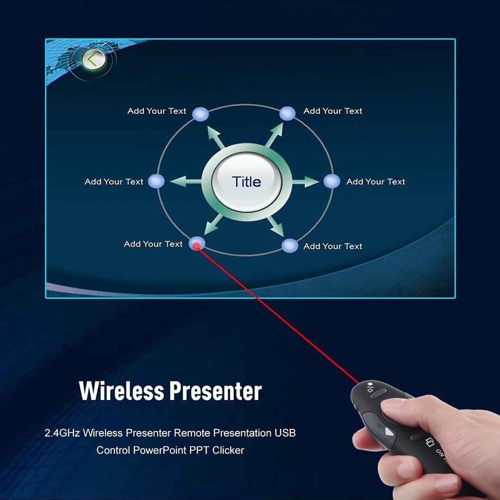 Chengstore USB telecomando presentazioni PowerPoint ppt clicker 2.4/G Wireless per presentazioni