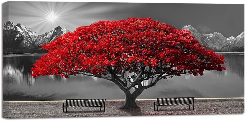 Black and White Red Tree Wall Art Canvas Print Picture Large Red Tree Landscape Modern Artwork for Living Room Bedroom Office Home Wall Decor with Frame 24X48inch