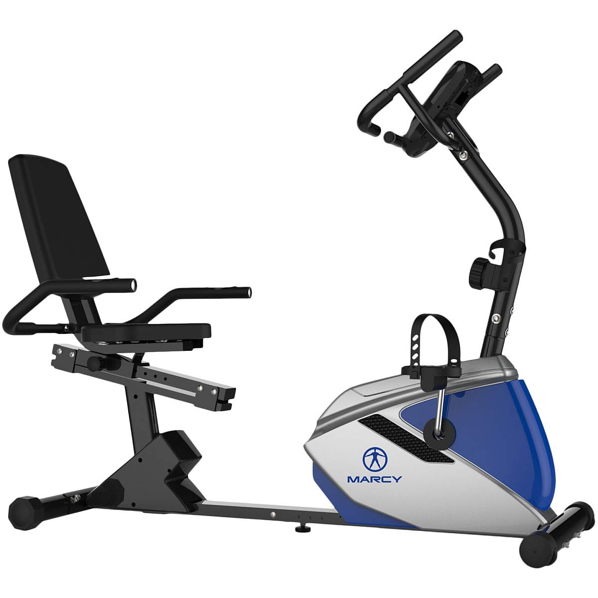 Marcy Magnetic Recumbent Bike with Pulse and 8 Resistance Levels for Cardio and Strength Training ME-1019R, One Size