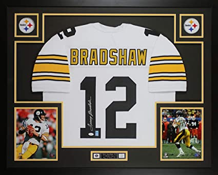 cc23c7eab Terry Bradshaw Autographed White Pittsburgh Steelers Jersey - Beautifully  Matted and Framed - Hand Signed By