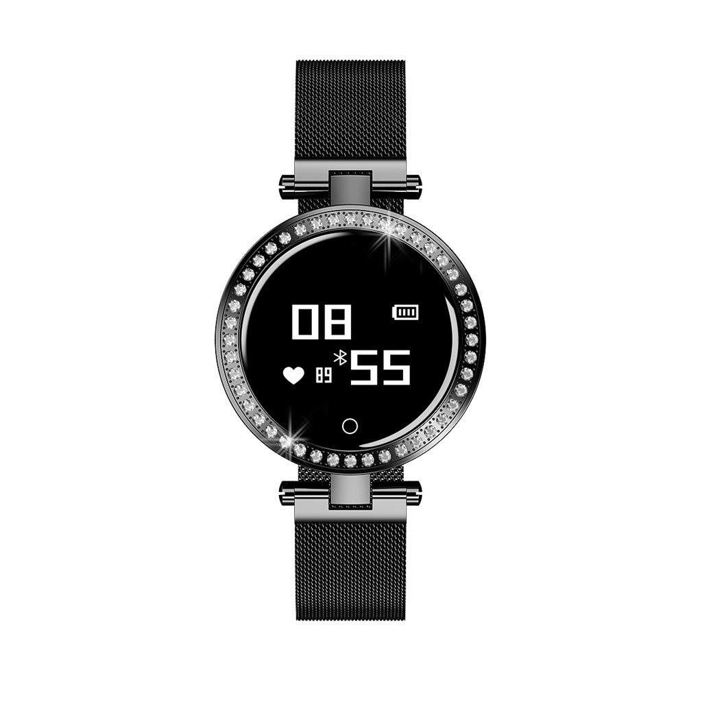 For Android IOS, Women Shining Rhinestones Sport Smart Watch Heart Rate Blood Pressure Sleep Monitoring Smart Bracelet (Black)