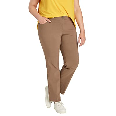 89th + Madison Women's Ultra Flattering Five Pocket Millennium Stretch Straight Leg Pants (16, Chai) at Women's Clothing store