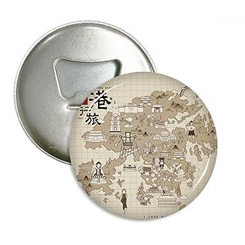 DIYthinker Hong Kong Traditionnelle Carte Chine Visite Ronde Decapsuleur Aimants Pour Refrigerateur Bouton Dinsigne