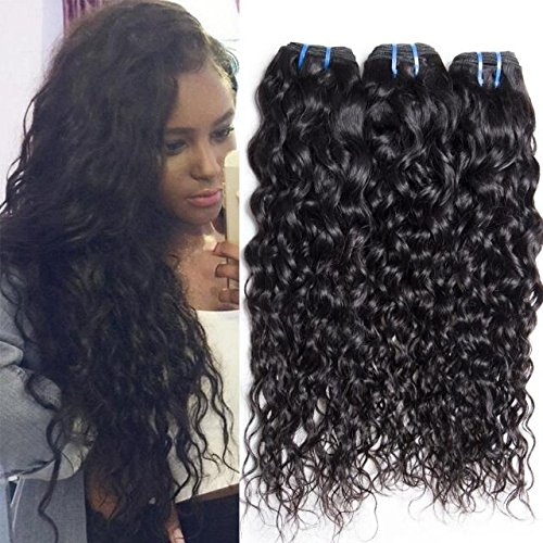 Maxine 9A Brazilian Natural Water Wave Virgin Hair Weave 3 Bundles 100% Unprocessed Human Hair Extensions Natural Color 95-100g/pc (16 18 20) ()