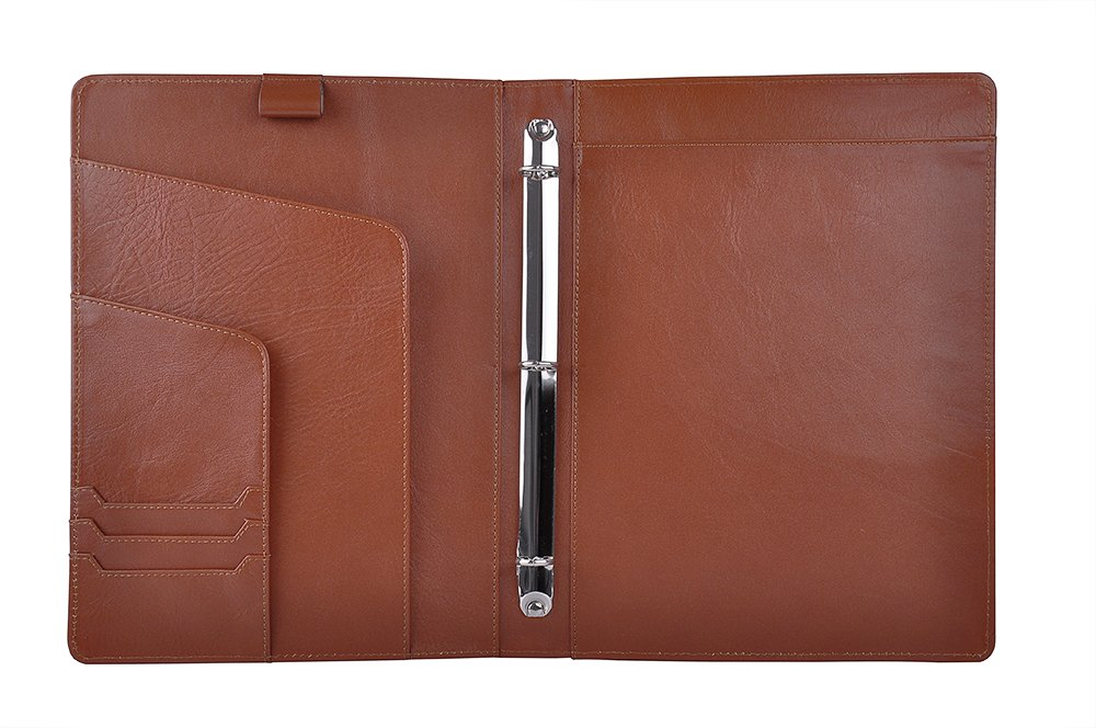 iCarryAlls Leather Organizer Padfolio with 3-Ring Binder, Fits Letter-Size / A4 Notepad,Brown