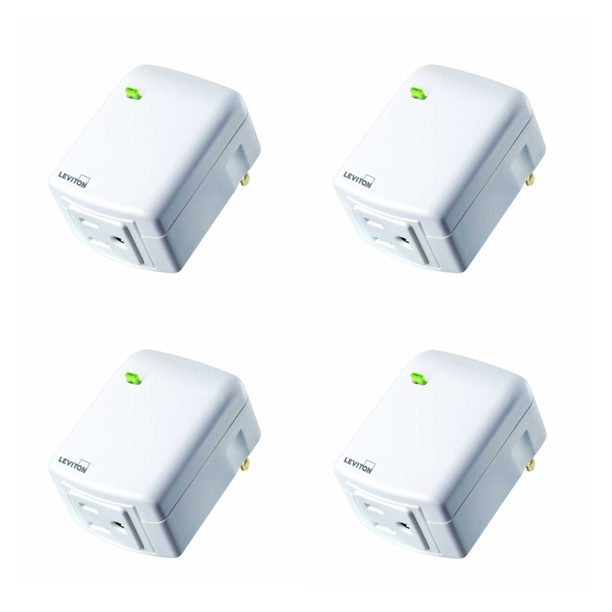 Leviton DW15A-1BW Decora Smart Wi-Fi Plug-in Outlet, Works with Amazon Alexa, No Hub Required (4 Pack)