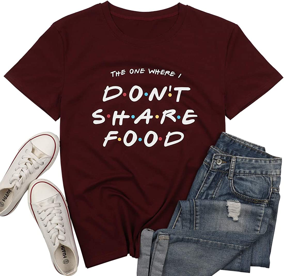 MOUSYA Friends T-Shirt Women Thanksgiving Funny Don't Share Food Letter Print Casual Short Sleeve Loose Holiday Tops