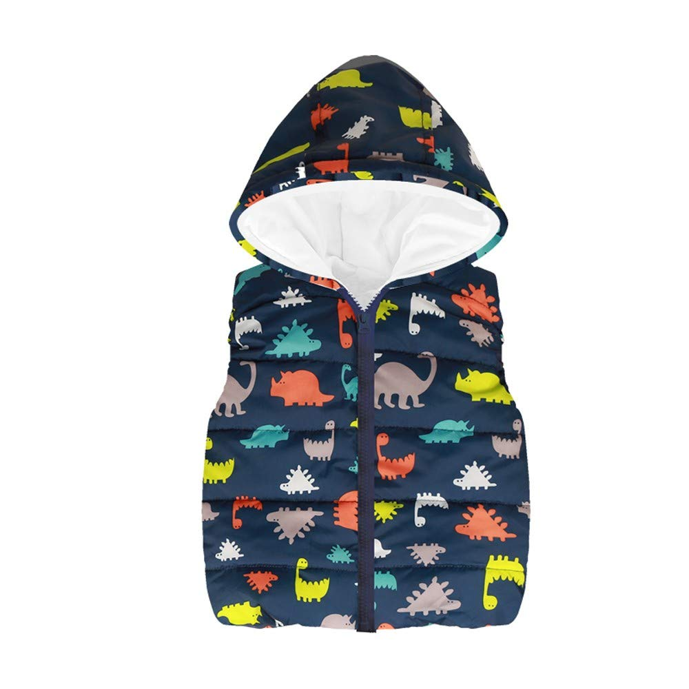 FEITONG Toddler Kids Girls Boys Sleeveless Printed Hooded Zipper Warm Waistcoat Jacket