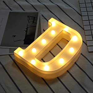 LED Marquee Letter Lights Sign 26 Alphabet Light Up Letters Sign for Night Light Wedding Birthday Party Battery Powered Christmas Lamp Home Bar Decoration (D)