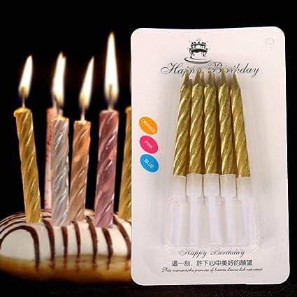 T Shin Cake Candles In HoldersMetallic Gold CandlesShort Thin Wedding