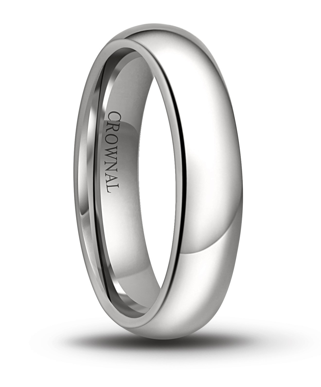 Crownal 6mm/5mm/4mm/3mm/2mm White Tungsten Carbide Polished Classic Dome Wedding Ring All Sizes (5mm, 8.5)