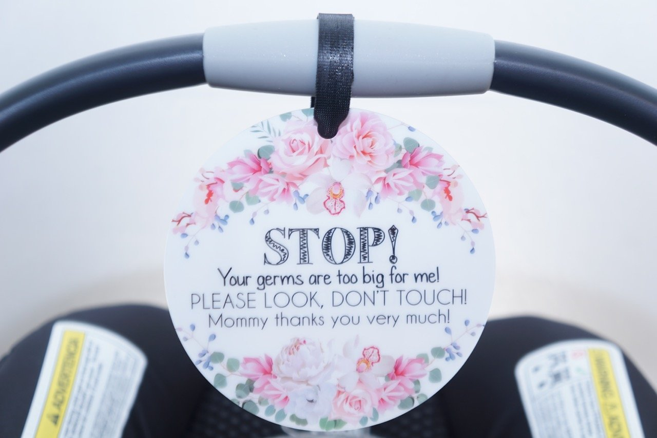 Girl Preemie sign, newborn, baby car seat tag, baby shower gift, stroller tag, baby Preemie no touching car seat sign