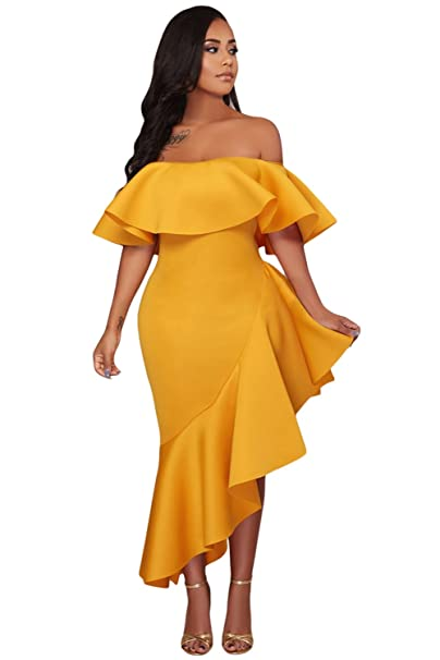 Smilady Yellow Asymmetric Ruffle Off Shoulder Party Dress