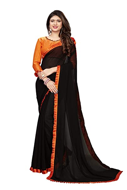 f8159a5d Fab Dadu Women's Georgette Plain lace Saree with Blouse Piece (FD-SR-10086- Black-Free Size): Amazon.in: Clothing & Accessories