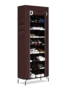 Orril 9 Layer Portable Multi Utility Shoe Rack/Organizer for Home, Medium (Maroon)