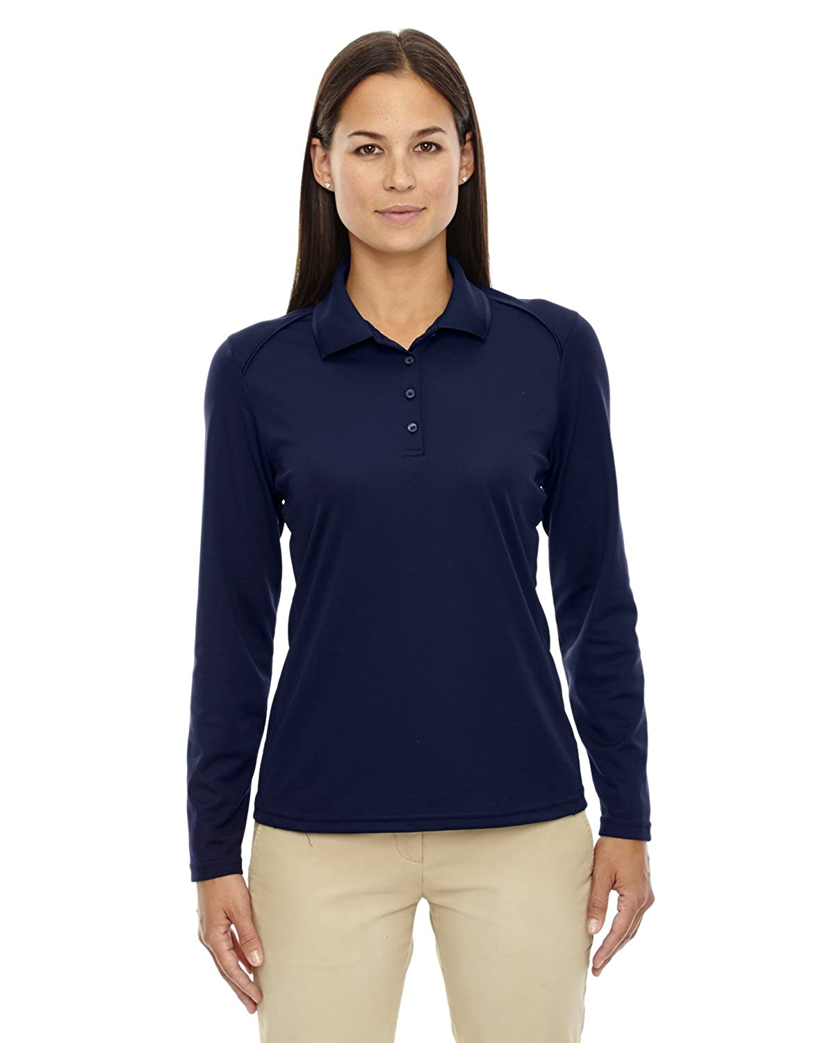 Ash City Ladies Armour Long Sleeve Polo Large, Classic Navy
