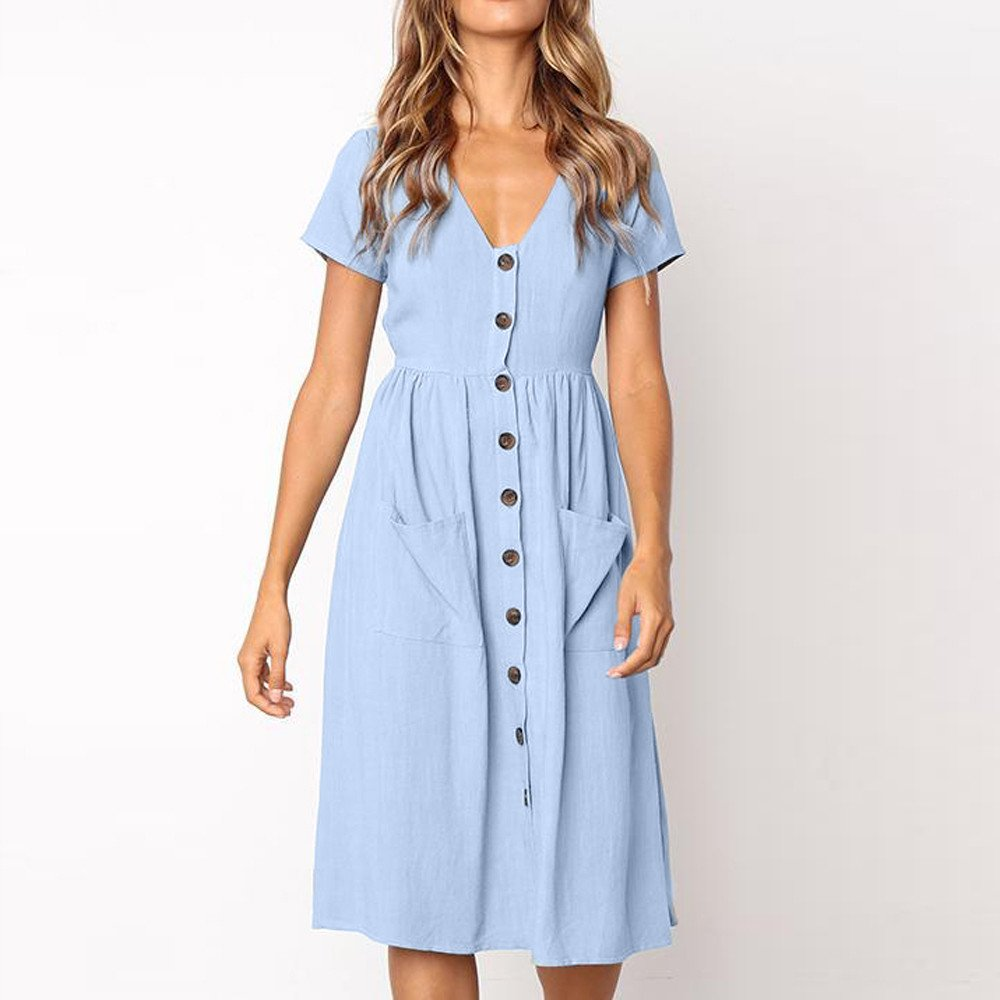 TOTOD Dress for Women Fashion Solid Short Sleeve Buttons V-Neck Dress Summer Holiday Beach Sundress Light Blue by TOTOD (Image #2)