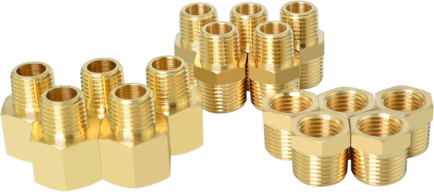 Gasher 15PCS Brass Pipe Fitting, Hex Bushing, Reducer Adapter, Reducing Hex Nipple 3/8 Inch NPT x 1/4 Inch NPT